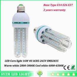 High power LED bulbs 16W E27 E26 E14 led corn light with glass cover 4u lighting warm white cool white