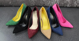 Wholesale Simple fashion fine grade high heeled suede shallow mouth pointed sexy D word deduction women shoes