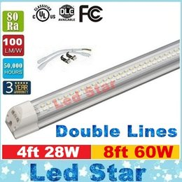Wholesale Integrated Double Lines T8 Led Tube ft ft Led Fluorescent Tube Light W W W lm W High Lumens AC V UL DLC