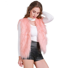 2017 women s faux fur vest Chic Designer Casual rosa macia elegante faux fur colete 2016 mulheres outono inverno jaqueta casaco parkas macio sem mangas quente outwear waistcosts orçamento women s faux fur vest