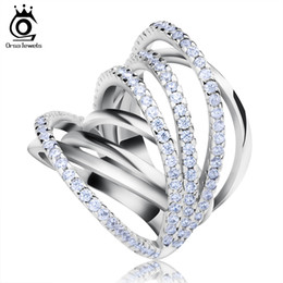 Orsa Top Grade Micro Paved CZ Ring Classic Ring with Perfect Polished White Gold Plated for Women OR93