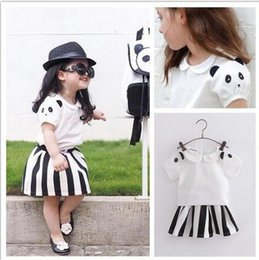 2016 New Girls Summer Outfits Cute Panda Sleeve T Shirt + Wide Striped Skirt 2PCS Sets baby children Casual Outfits