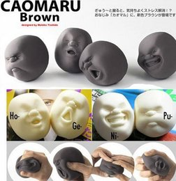 Wholesale Hot Japanese Gray Caomaru Stress Reliever Novelty Face Ball Adult Vent Funny Toy Mini Squeeze Ball Pressure Reduce Best Xmas Gift