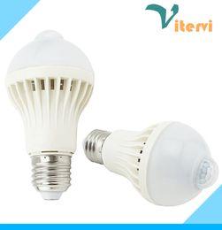 Wholesale Motion Sensor LED Bulb light E27 B22 AC85 V PIR Infrared induction bulb lamp W W W induction led light