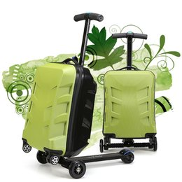 Wholesale Auluminum alloy PC and ABS material four wheel skateboard scooter luggage suitcase for travel and business trip low price