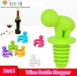 Promotion verre bouchons de vin 7 pcs / boîte Cartoon Creative Bouteille de vin Bouchon avec verre Coupe marqueur pour la Coupe de reconnaissance, Champagne Bottle Stopper 4042
