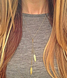 Wholesale Necklaces Pendants Women Fashion Bohemia Brief Gold Plated Alloy Feathers Clavicle Chain Necklaces Drop Shipping SN609
