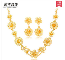Fast Free Shipping Fine 24K yellow gold set Female flowers bridal jewelry piece fitted gold-plated vintage accessories