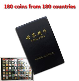 Wholesale world coins set collecting with leather album for from different countries tag with name and flag