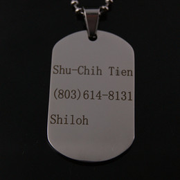 Wholesale-Monogram Name Necklace 316L Stainless Steel , Custom Pictures Words ,Custom Dog Cat Personalised PET ID TAG ,