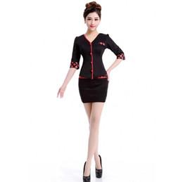 Wholesale Black Skirt Suits Beauty Hospital Salon Service Uniform Hotal Women Work Wear For Front Desk