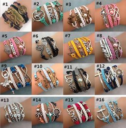 Wholesale 55styles Infinite Charm Bracelets multilayer woven leather bracelets Antique Cross Anchor Love Peach Knitting bronze diy charm bracelets