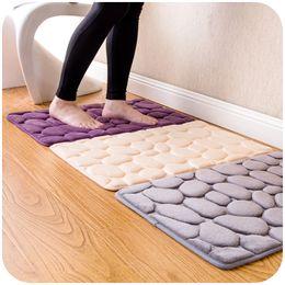 Unique 3D Embossing Stone Rug Door Bedroom Entrance Mat Kitchen Bathroom Absorbing Antislip Mat Superior Flannel Carpet Silkscreen Bottom
