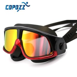 Wholesale Brand New Polarized Swim Goggles Swimming Glasses Anti Fog UV Large Wide men women Sport Waterproof Silicone Mirrored