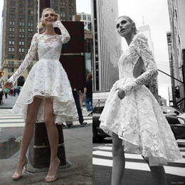 Stunning Short Lace Bridal Dresses Hi-Lo Long Sleeve Wedding Dress 3D-Floral Appliques Wedding Gown Open Back Bateau Neck Custom Made