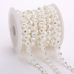 10yards lot Dia 10mm Flat Back Round Ivory ABS Pearl Rhinestones Chain String DIY Jewelry Wedding Accessories Party Decoration