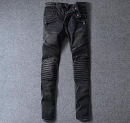 Wholesale 2016 Balmain Black Grey Denim Jeans Ragged Destroy Washed Biker Moto Cross Jeans Pants For Men