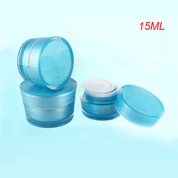 15g blue acrylic cone-shape cream jar with silver line ,blue 0.5 ounce plastic cosmetic container, blue 15g cream jar empty