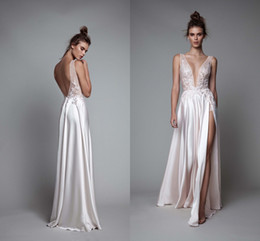 Wholesale Berta rtw Fall Cream Split Evening Formal Wear Gowns Elegant Plunging Neck Lace Beaded Detail Cheap Arabic Prom Dresses