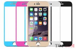 Acheter en ligne Plaque d'écran-Front + back film pour iphone5 couleur Film de protection en verre de protection de placage Protecteur d'écran en verre trempé pour iphone 5S 6 6plus 4 4s