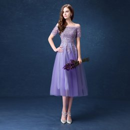 Wholesale Grace Purple Evening Dresses of New Arrival The Boat Neck Tulle Embroidery Sequined Nail Beaded Tea Length Formal Dresses