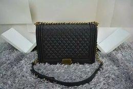 Acheter en ligne Chaîne grand sac-Haute qualité Fab Prix Grand 30CM style classique LeBoy Caviar véritable cuir Plaid Flaps Shoulder Chain Sacs Vintage Gold / Silver Hardware