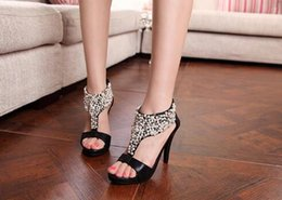 Wholesale New Summer open toe rhinestone sandals zipper pearl beaded high heel sandals women shoes high heel sandals banquet shoes dancing shoes