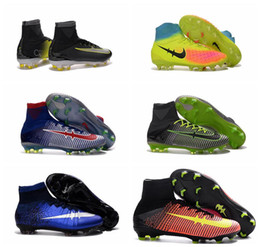 Wholesale Youth CR7 Soccer cleats mercurial superfly FG Mens Women Children kids football boots ronaldo shoes Turf soccer shoes magista Obra orden II