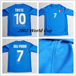 Wholesale Retro High quality vintage World Cup short sleeved sky blue shirts Totti Del Piero Inzaghi Baggio soccer Jerseys