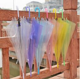 Wholesale OEM Transparent Umbrellas Clear See Through Colorful Long Handle Umbrellas for Rainproof Wedding Photo Props etc DHL