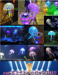 Wholesale Multicolor Vivid Glowing Effect Fluorescent Artificial Jellyfish Aquarium Fish Tank Decoration Ornament Swim Pool Bath Decor MYY