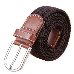 Fashion Unisex Elastic Belts 2016 New Waistband Woven Canvas Belt Men Women Wild Casual Belt Buckle CinturonesHombre Strap T173