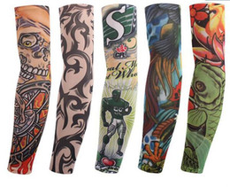 Wholesale Multi style Nylon elastic Fake temporary tattoo sleeve designs body Arm stockings tatoo for cool men women