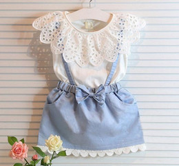 Children Set Kids Suit Outfits Girl Dress 2016 Summer Lace White T Shirts Baby Denim Skirt Kid Dress Suits Child Clothes Kids Clothing