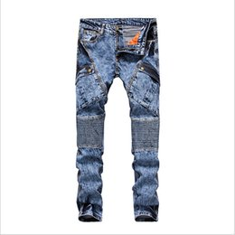 Wholesale High quality balmain jeans best selling brand Men crime leggings Bicycle jeans fashion big pocket zipper jeans size