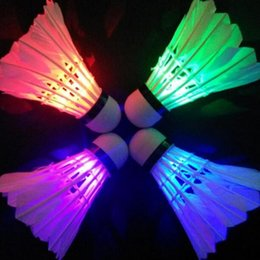 Wholesale-Hot Sale 4 Pcs Colorful LED Badminton Shuttlecock Bright In Night Outdoor Entertainment Sport Accessories Night Free Shipping RP