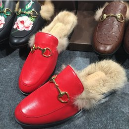 Wholesale 2016 Best Selling Women Flat Shoes Horsebit Fur Embellished Slippers Slingback Casual Shoes Drop Shipping size35