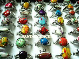 wholesale bulk lots 24PCs mixed styles natural rainbow stone women's metal alloy Ethnic fashion jewelry rings