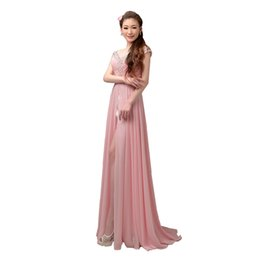 Split Evening Dress with Beading Cap Sleeves Long Chiffon Gown in Pink Blue White Purple Light Blue Green
