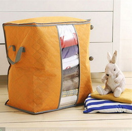 Wholesale 2016 Hot Sale Storage Bag Box Portable Organizer Non Woven Underbed Pouch Storage Box Bamboo Clothing Storaging Bag on sale