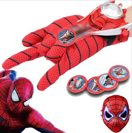 Wholesale-Free shipping Children's educational toys Spiderman gloves with transmitter Character animation around
