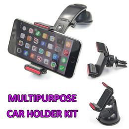 Wholesale in Multipurpose Bridge Car Phone Holder Kit for iPhone6 plus Samsung S5 S6 Mobile Car Window Air vent Dashboard Gel MountVan