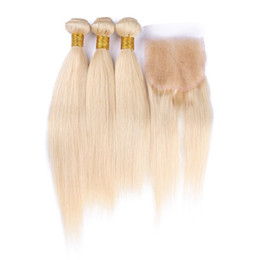 Stock Brazilian Blonde Virgin Hair With Closure 4Pcs Lot Silky Straight 613 Bleach Blonde Lace Closure With Brazilian Human Hair 3Bundles