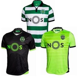Wholesale 2016 New Sporting CP Soccer jerseys Home Away Sporting FC Football Lisbon shirts Free Delivery