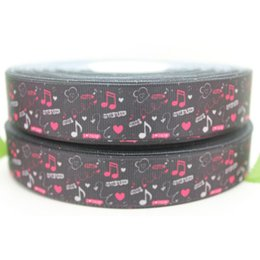 "7 8"" 22mm Popular Music Notes Black Printed Grosgrain Ribbon Bows Crafts Decorations DIY Hair Accessories A2-22-353"