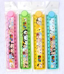 Wholesale 40Pcs cm Cute Kawaii Plastic Folding Cartoon Tsum Mickey Minnie Folding Ruler Drafting Tools Stationery Office Supplies