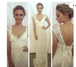 Wholesale 2016 Anna Campbell New Lace Wedding Dresses V neck Cap Sleeves Backless Appliqued With Bow Sash Maternity Pregnant Sexy Bridal Gowns