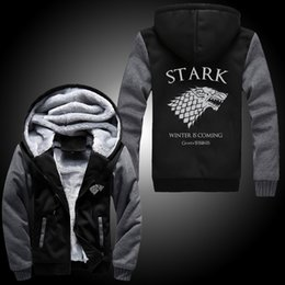 Wholesale Fall Differ Game Of Thrones House Of Stark Graphic Super Warm Thicken Fleece Zip Up Hoodie Men s Coat Black