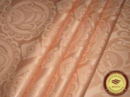 Germany Quality Jacquard Damask Peach Color Bazin Riche Guinea Brocade African Garment Cotton Fabric African Garment Fabric 100% Cotton