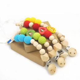 Wholesale 4pcs Per Sale Red Green Blue Yellow Color Crochet Beads New Born Baby Pacifier Clip Dummy Holder Natural